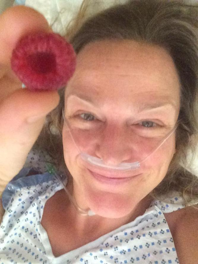 morgan in hospital with raspberry
